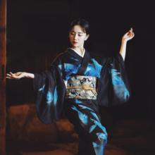 BLACK Vintage Girl Robe Japanese Traditional Kimono Gown Classic Yukata With Obi Women Cosplay Costume Stage Show Clothing