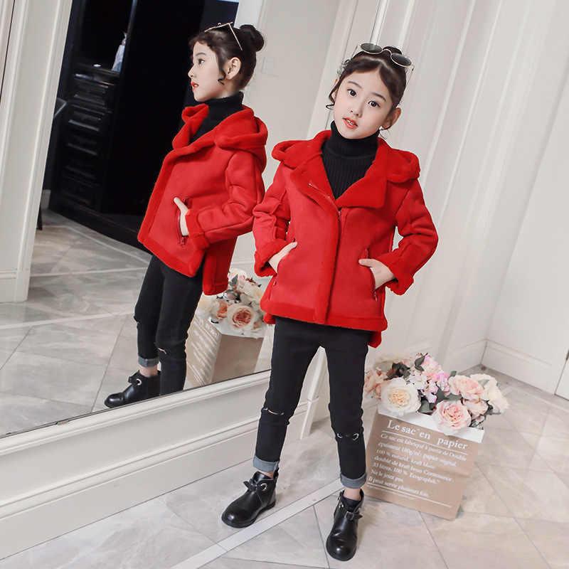 Çocuk Hırka Kısa Ceket Faux Berber Polar sıcak tutan kaban Kapüşonlu Pelerin Kırmızı Pembe Kahverengi Size110-160 Çocuk Dış Giyim Kız Ceket