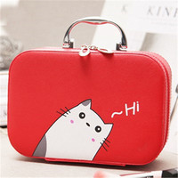Women Girls Cosmetic Bag With Handle Fashion Cute Korean Style Multi Function Travel Convenient Storage Bag
