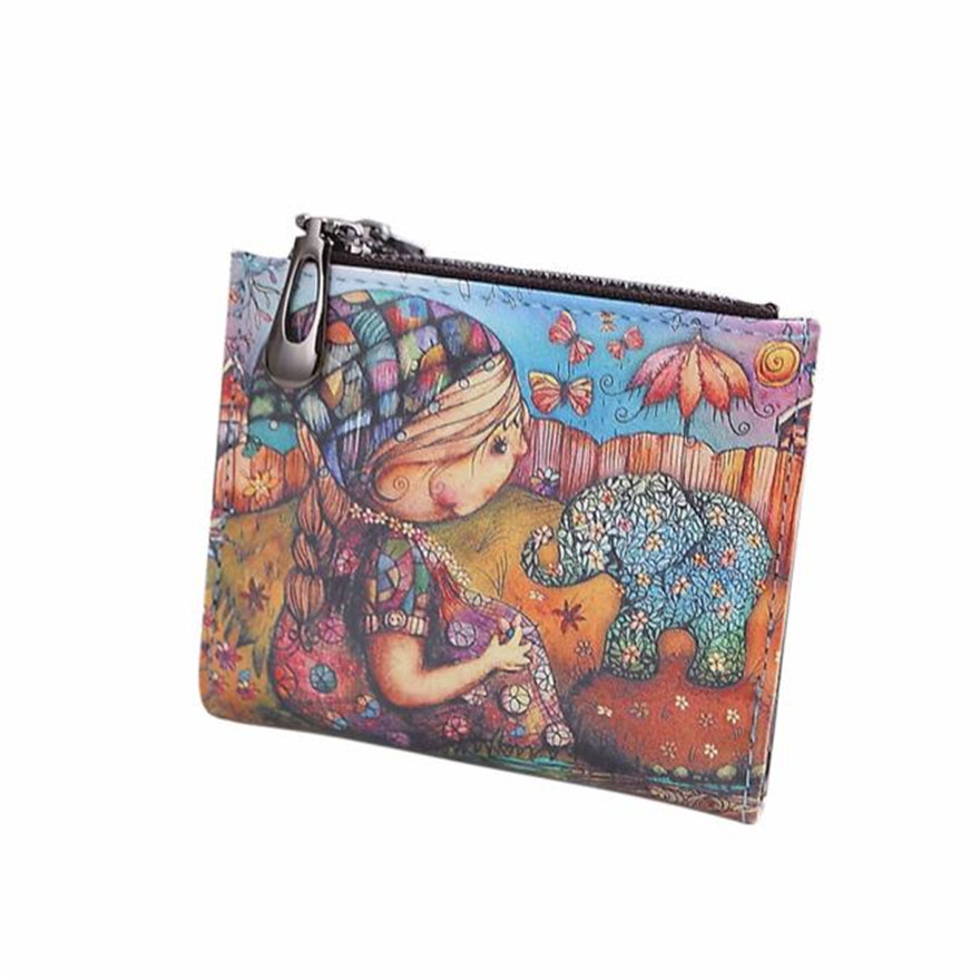 Fashion New Brand Women Vintage Girl Elephant Coin Clip Purse High Quality Zipper Short Wallet Cute Clutch Handbag wallets S
