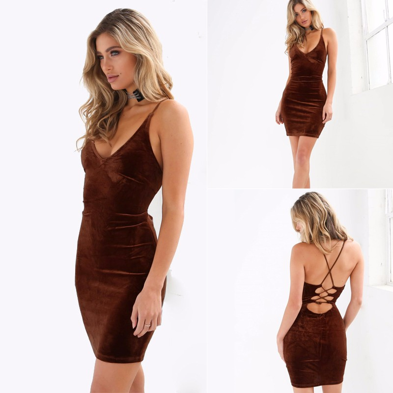 HTB1L JoOVXXXXa6aXXXq6xXFXXXU - Sexy V Neck Spaghetti Strap Women Bodycon Mini Velvet Dress JKP270