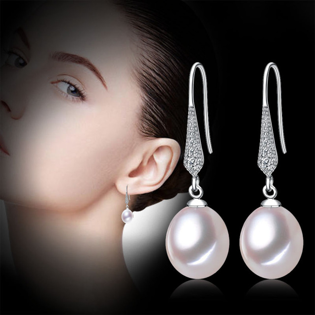 [NYMPH] pure natural pearl earrings,8-9mm freshwater drop pearl fine jewelry gift for women  E10017