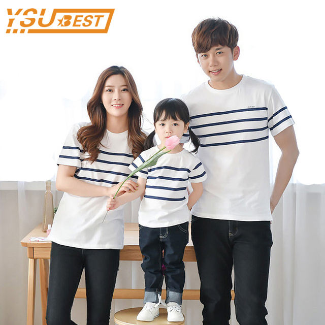 b41fbdaad462 Daddy Mother Son Outfits 2018 Matching Outfits Clothes Cotton Summer Family  T Shirts Striped Family Matching Clothes T Shirts