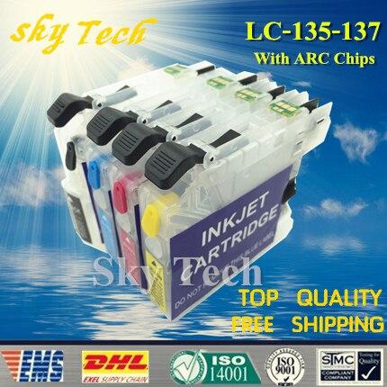 Пустой пополняемый картридж 4PK, подходит для Brother LC135 LC137, подходит для J4410 J4510DW J4710DW J6520DW J6720DW J6920, с чипом ARC