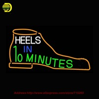 Heels In 10 Minutes Neon Sign Shoe Neon Bulb Handcrafted Glass Tube Affiche Light Recreation Windows