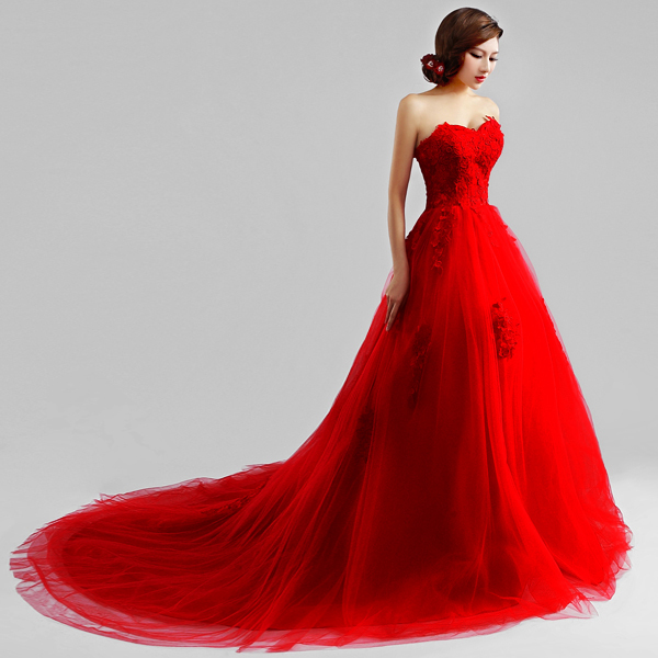 f103ce447f US $93.99  s 2016 New Stock Plus Size Women Pregnant Bridal Gown Wedding  Dress Lace Korean Long Red Big Train Tail Tailing Lace 9262-in Wedding ...