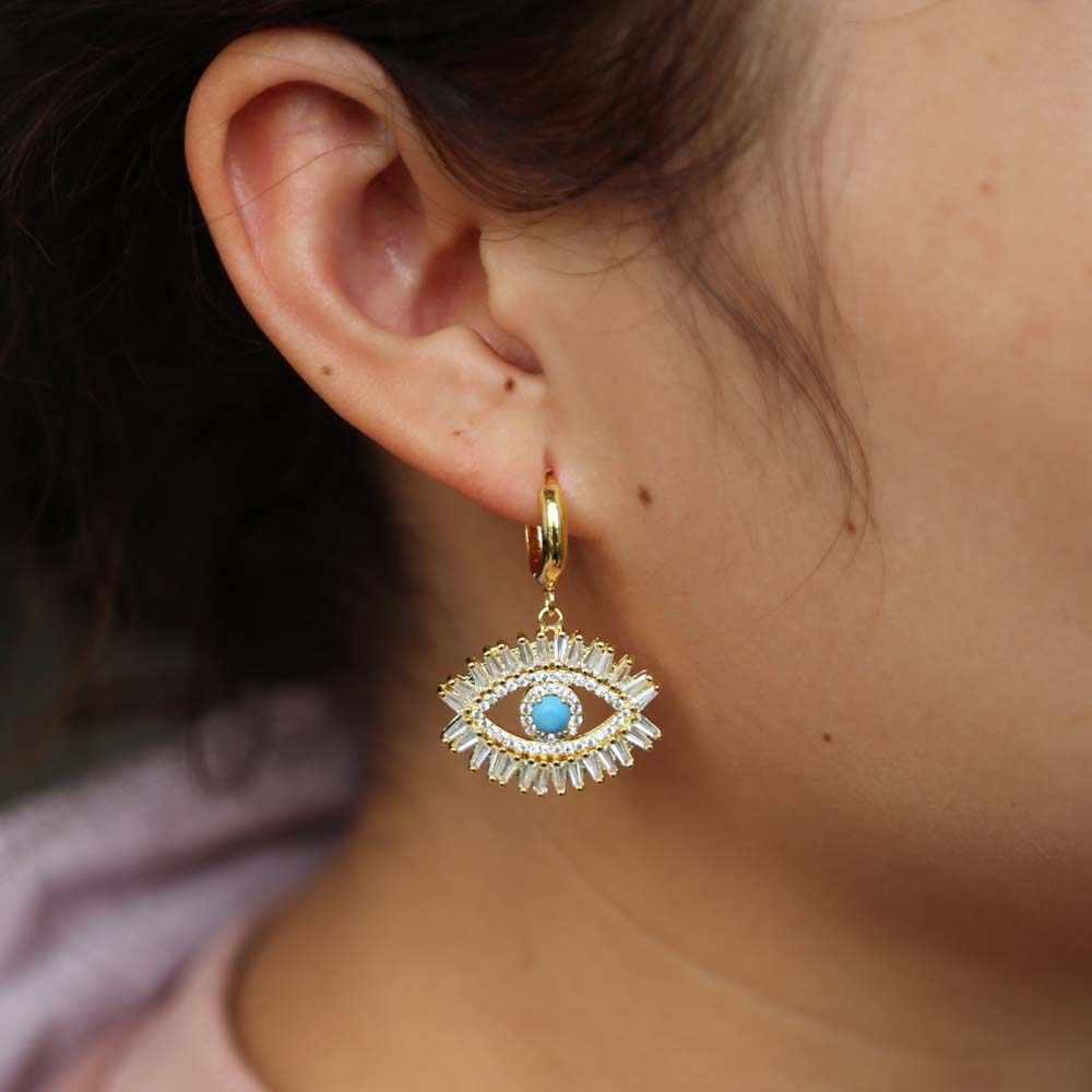 ฤดูใบไม้ผลิแฟชั่น Lucky Sweet ผู้หญิงเครื่องประดับ dangling Evil Eye ต่างหูทองเงินสี Gorgeous Boho ตุรกีต่างหูหญิง