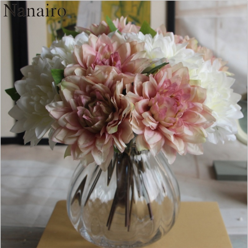 Large silk flower european fake bouquet rose dahlia bride large silk flower european fake bouquet rose dahlia bride artificial flowers for wedding home party christmas decoration mightylinksfo