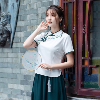 Girl'S everyday cheongsam 2019 summer New style Plus-sized improved Chinese clothing cotton linen embroidered costume expandable
