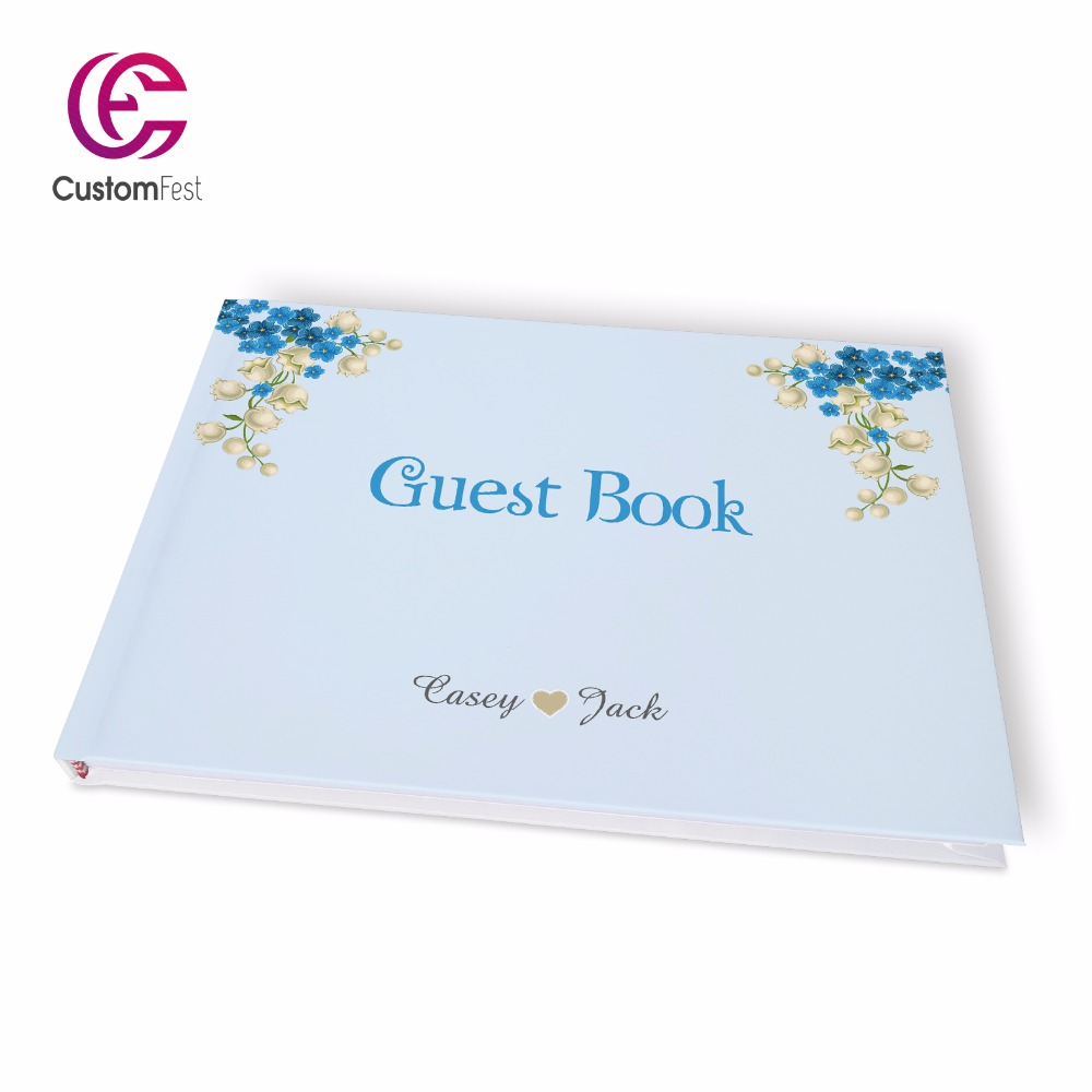 Free shipping Wedding Gold decorated personalized Guestbook GB002V