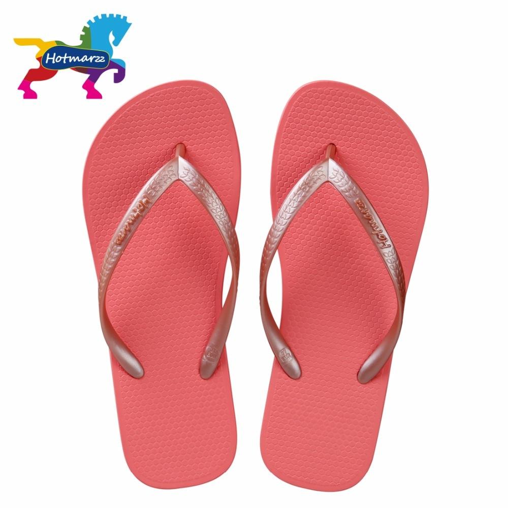 Hotmarzz Women Red Flip Flops Sandals Slim Slippers Summer Beach Shoes Rubber Designer Brand Slides House Shower Slippersshower slippersslimming slippersslippers summer -
