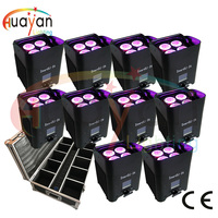 10pcs/pack with flight case SMART DJ S4 4 x 12W RGBWA + UV 6 IN 1 Wireless LED Uplighter/Rechargeable Battery Powered Wireless