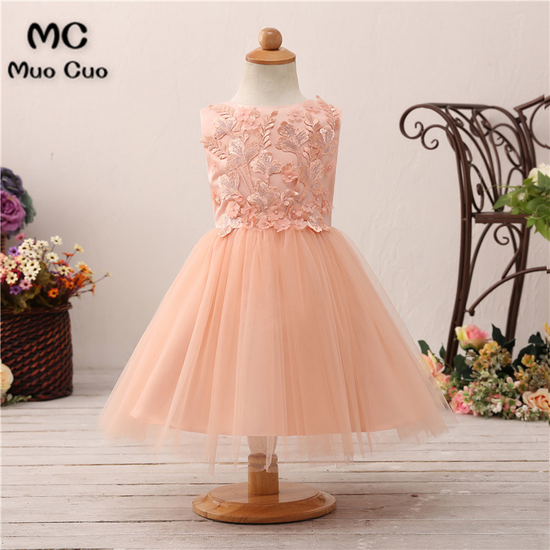 Nude Pink 2018 Lovely first communion   dresses   for   girls   Ball Gown   Flowers   kids evening gown   flower     girl     dresses   for weddings
