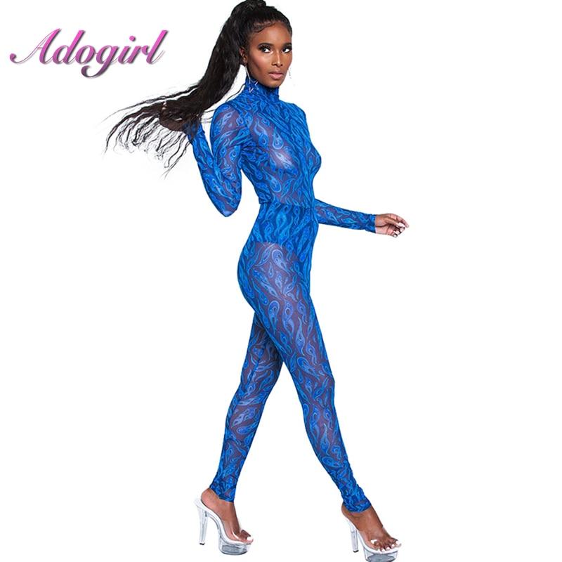 Mesh Sheer Print Sexy Jumpsuit Turtleneck Long Sleeve Women Skinny Overalls See Through Bodysuit Blue Playsuit