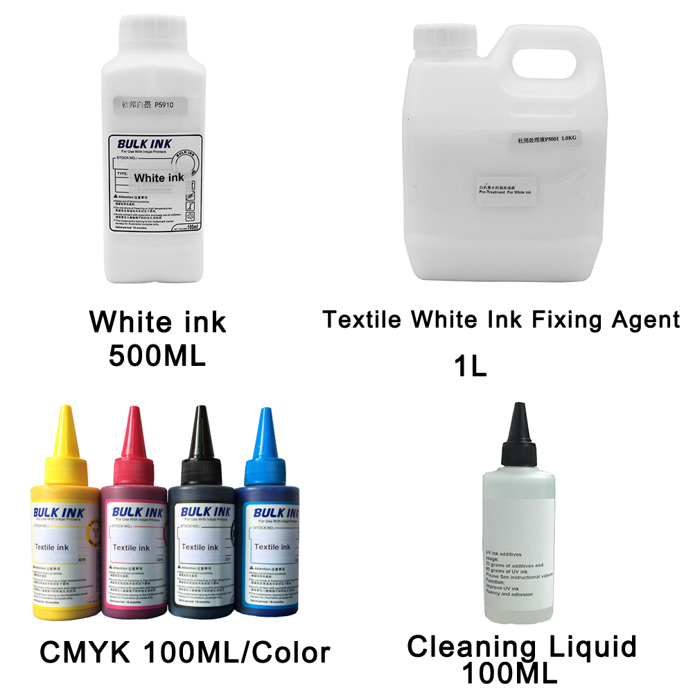 Textile Ink(C M Y K),White textile ink,cleaning liquid,textile white ink fixing agent for Flatbed Printer use for T shirt-in Ink Refill Kits from Computer & Office    1