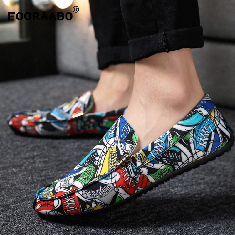 Fooraabo Breathable Shoes Flats Loafers Male Summer New-Fashion Soft Doodle Zapatos Man