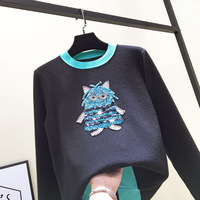 2018 spring new heavy work sweater owl robot nailed bead sequins long sleeve head Z2706