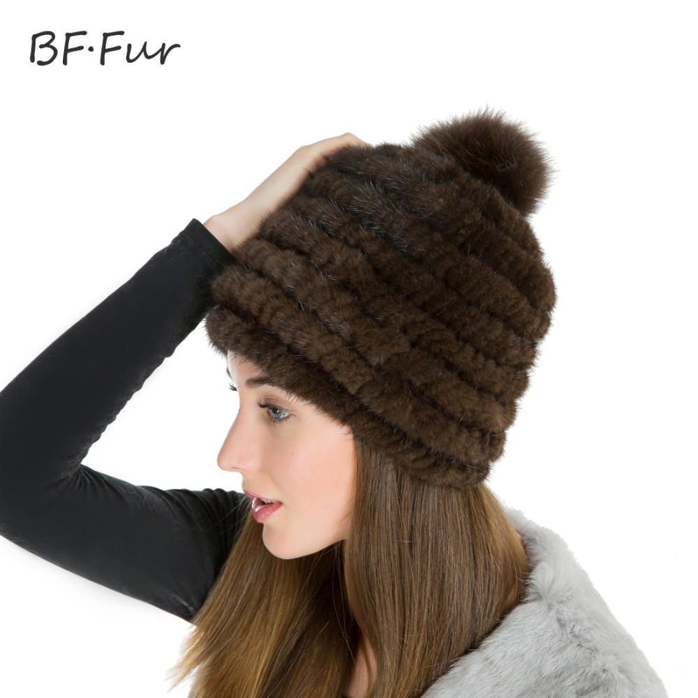 Real Mink Fur Hat For Women Winter Knitted Mink Fur Beanies Cap With Mink Fur Pom Poms 2017 Brand New Thick Female Cap BF-M0021 real mink fur hat for women winter knitted mink fur beanies cap fox fur pom poms brand new thick female cap