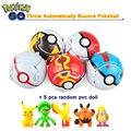 Recentes 5 Pçs/lote Jogue Saltar Automaticamente Pokeball Monstro de Bolso Pikachu Anime Figuras de Ação Figuras Presentes de Natal