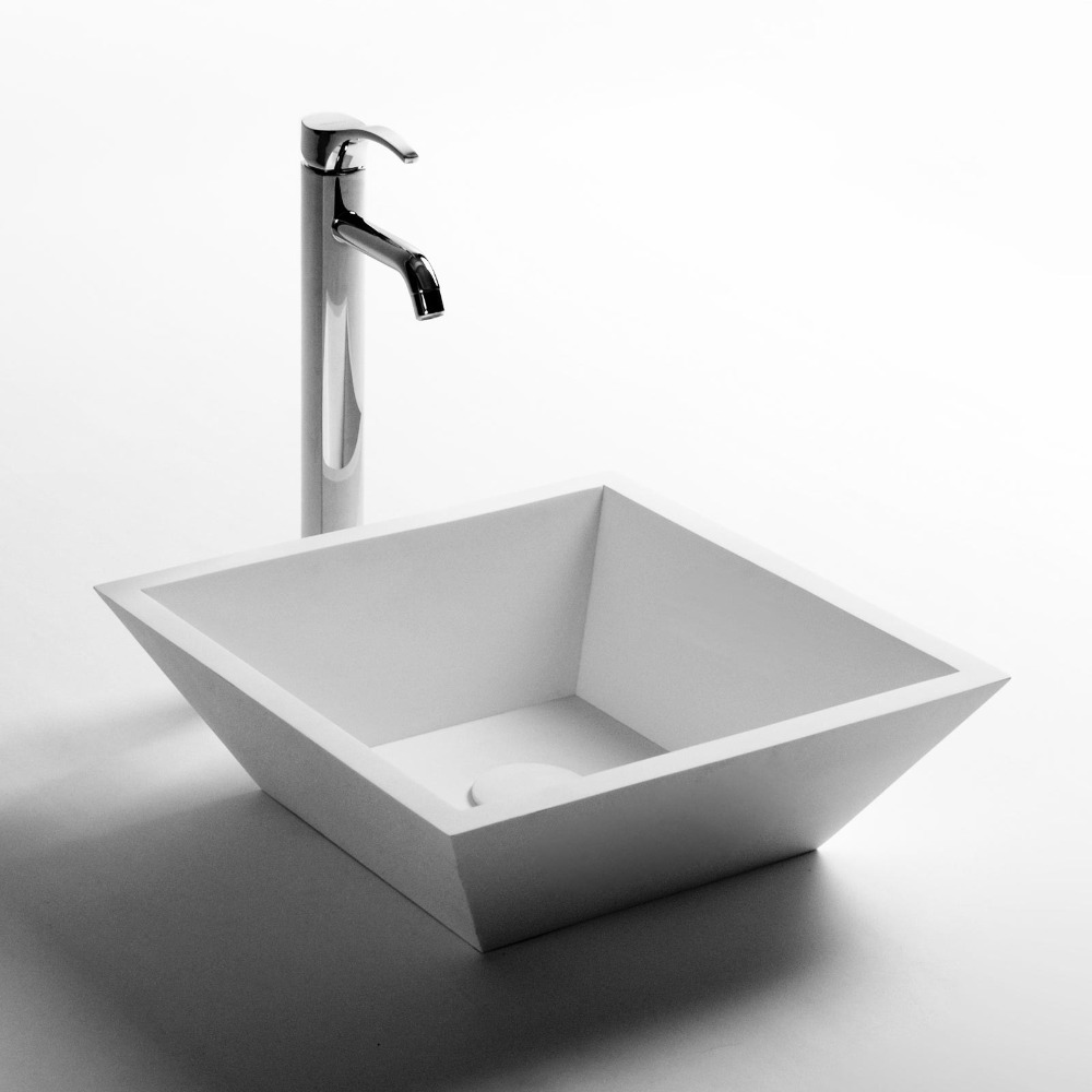 Square bathroom solid surface stone counter top Vessel sink fashionable Corian washbasin RS3832