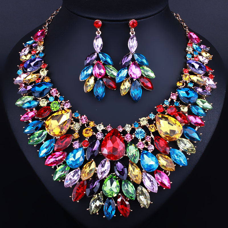 African Beads Jewelry Luxury color large crystal necklace earring ...