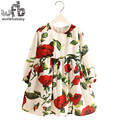 Retail 2-8 Milan Princess Dress Red Rose Flax Long Sleeve Clothing Baby Girl Cute Korean Floral Print Spring fall 2016 New
