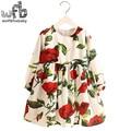 Varejo 2-8 Milan Vestido de Princesa Rosa Vermelha de Linho de Manga Longa roupas de Bebê Menina Bonito Coreano Print Floral Primavera queda 2016 nova