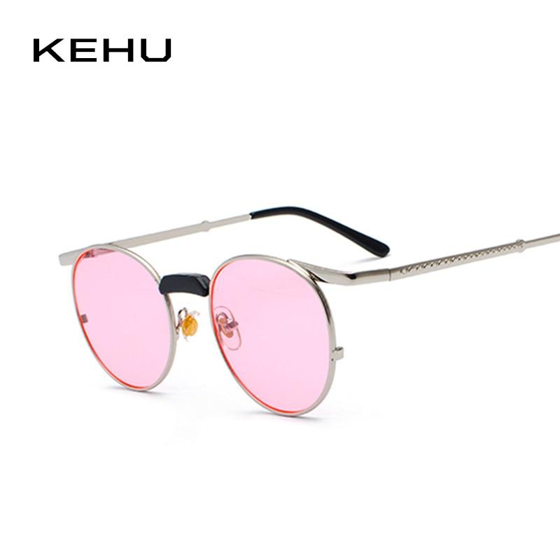 Kehu Lady Round Sunglasses High Nose Bridge Design High Quality Alloy Frame Retro -4251