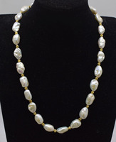 freshwater pearl white reborn keshi flat 10 16mm &14k gold plated round necklace 20inch FPPJ wholesale beads nature
