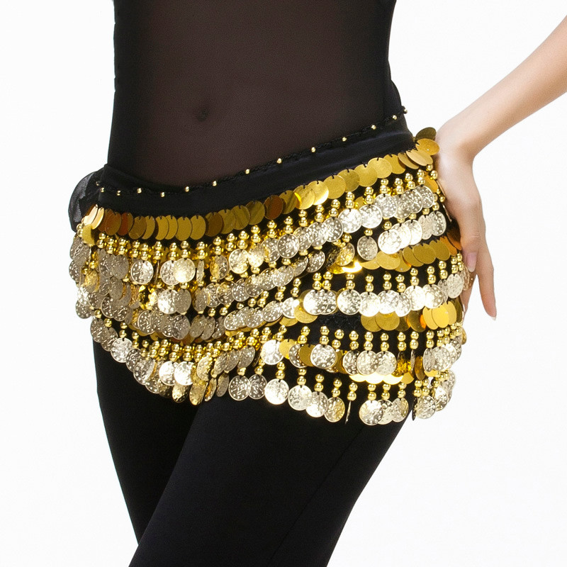Lady Women Belly Dance Costume Bellydance Hip Scarf Belly Dancing Belt With Gold Coins Adult Waist Chain Accessories Dancwear