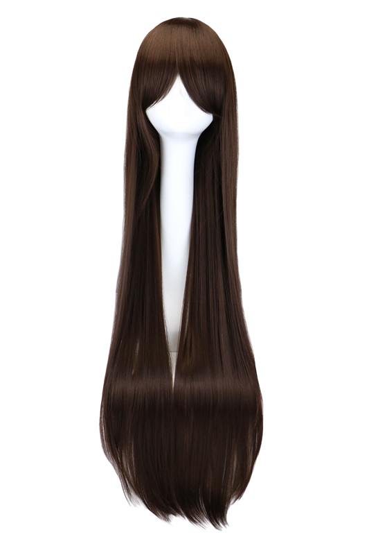 "QQXCAIW Long Straight Costume Cosplay Party Dark Brown 40"" 100 Cm Synthetic Hair Wigs"