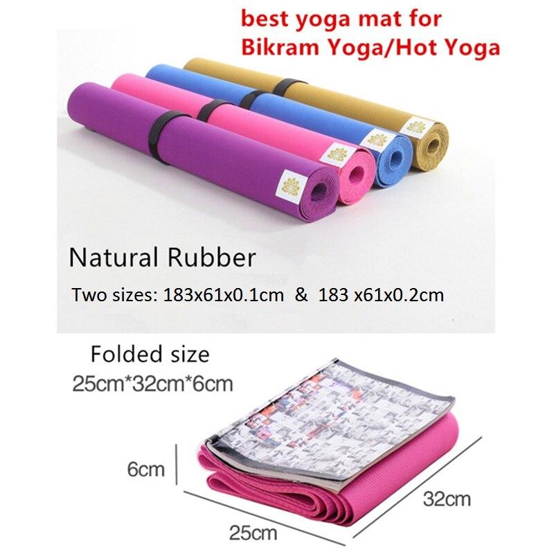 Tapis de Yoga En Caoutchouc Naturel anti-dérapant Écologique Pour Bikram Meilleur Tapis De Yoga Pour Le Yoga Chaud Fitness Facile à plier tapis de gymnastique En Caoutchouc