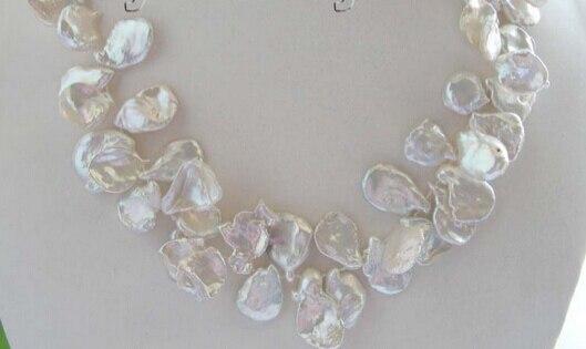 HOT 0015556 Natural White Reborn Keshi Pearl Necklace