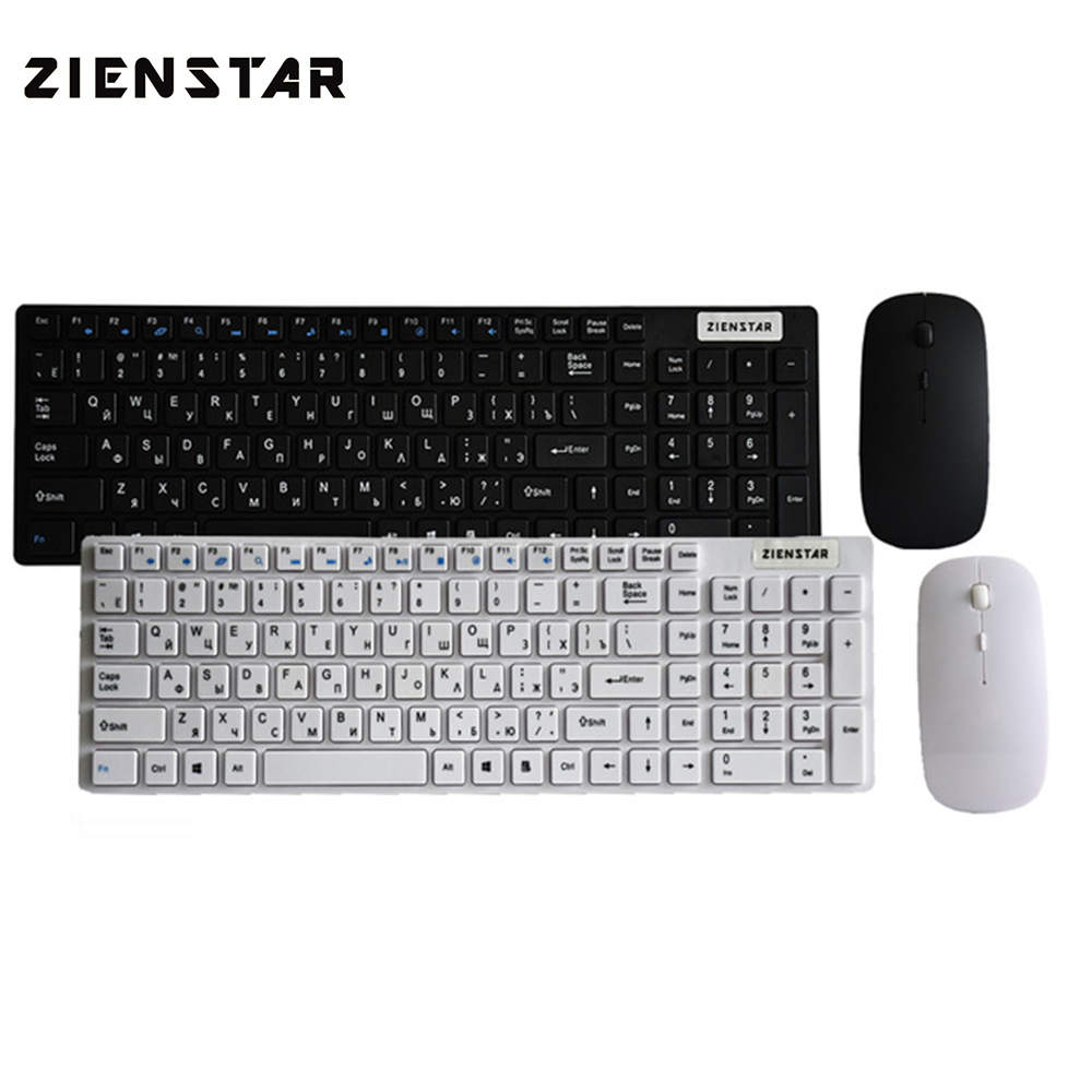 Zienstar Russian English letter 2.4G Wireless keyboard mouse combo with USB Receiver for Desktop,Computer PC,Laptop and Smart TV цены онлайн