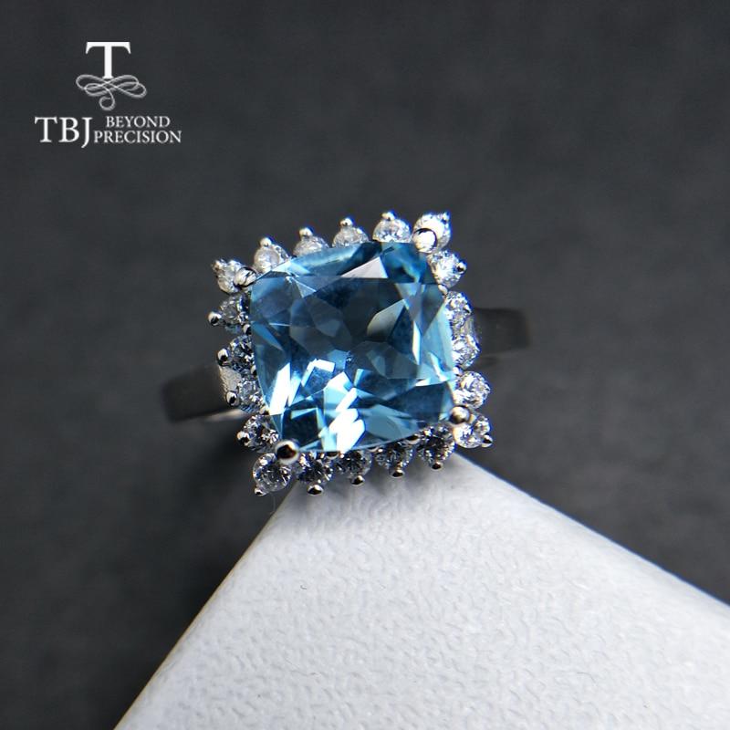 TBJ 100 natural sky blue topaz cushion 9mm 4ct gemstone ring 925 sterling silver fine jewlery