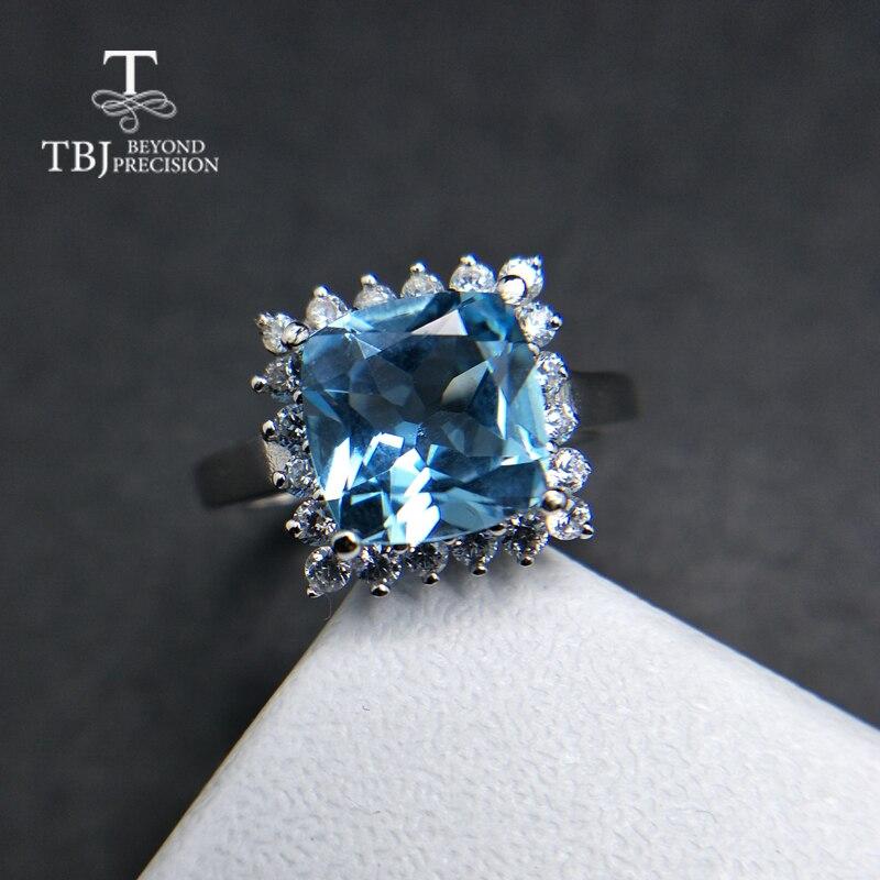 TBJ, 100% coussin topaze bleu ciel naturel 9mm 4ct anneau de pierres précieuses 925 en argent sterling bijoux fins pour les femmes cadeau de fête d'anniversaire