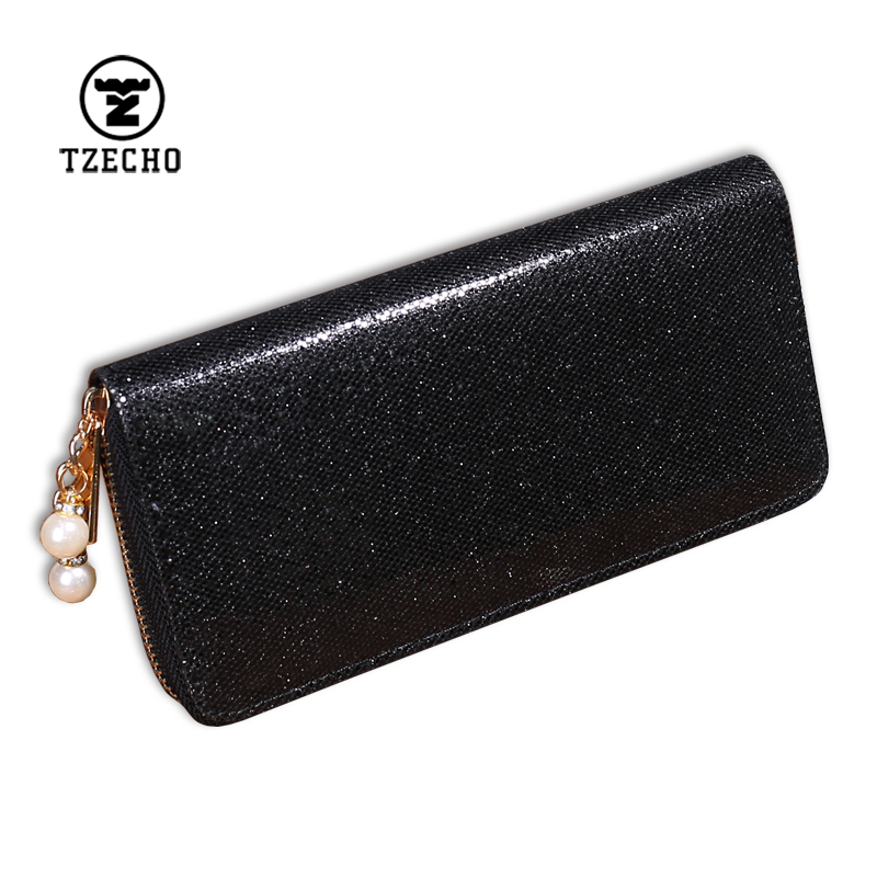 TZECHO Long Wallet for Women With Phone Bling Clutch Female Purses Rfid Credit Cards Holder Ladies Plastic Beads Women Wallets