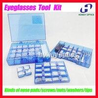 Optical Frames Eyewear Glasses Eyeglasses Screws Nose pads Nuts Washers Tips Repair Tool Kit