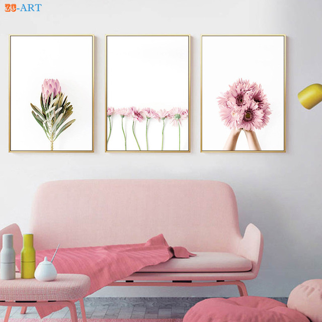 Framed pink flowers posters and prints pastel modern canvas painting framed pink flowers posters and prints pastel modern canvas painting wall art nursery picture for living mightylinksfo