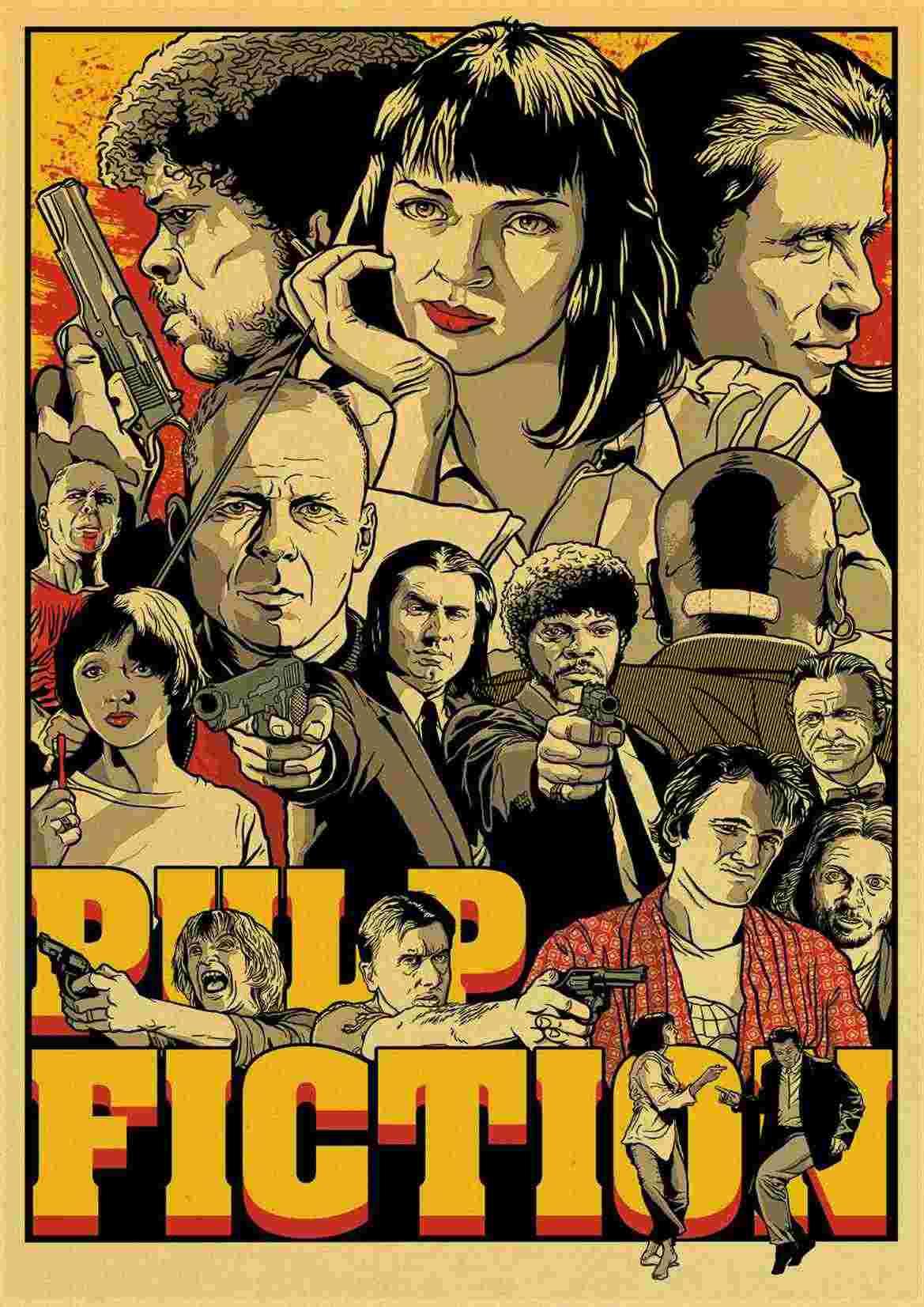 Classico Film Fight Club/Pulp Fiction/Brillante/Kill Bill Poster Vintage Poster da Parete Adesivi per Soggiorno decorazione Della Casa