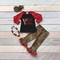 Массовая оптовая V-day бутик девочки детские наряды мамочка маленькая Валентина оборками leopard сердце много печати match аксессуары