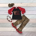 bulk wholesale V-day boutique baby girls kids outfits mommy's little Valentine ruffles leopard heart lot print match accessories