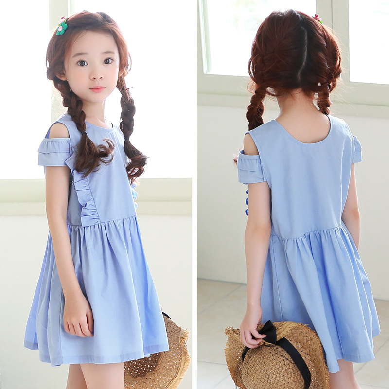 teenage little girls dress summer spring 2018 new ruffles blue off shoulder princess dress girl short sleeve korean style ems dhl free shipping toddler little girl s 2017 princess ruffles layers sleeveless lace dress summer style suspender