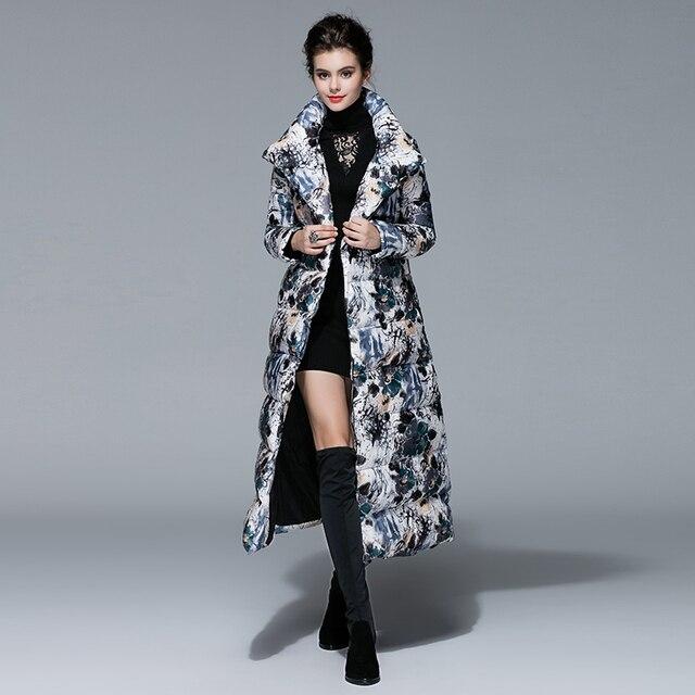 De lujo de Largo Abajo 2016 La Moda de Invierno Nueva Cintura Ancha Mujeres Calientes de Impresión de Manga Larga Gótica Elegante Largo Abajo