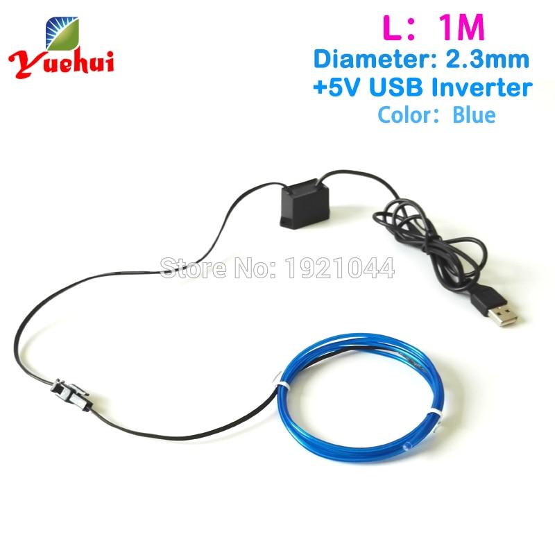 Pro hračky do auta / řemesla Party dekorace 2.3mm 1/3 / 5Meter Modrá EL Wire USB Flexibilní neonová žárovka LED vlákno s 5V USB měničem