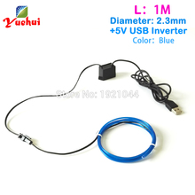 For Car toys/craft Party Decoration 2.3mm 1/3/5Meter Blue EL Wire USB Flexible neon glow Led thread light With 5V USB inverter