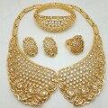 Gold Fashion Plateó la Boda Nigeriano Beads Africanos Joyería Conjunto Cristal Arabia Sistemas de La Joyería Pendiente de la Pulsera Del Anillo de La Joyería