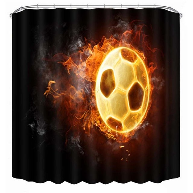 GBSELL Waterproof Cool Football Print Polyester Bathroom Shower Curtain With Hooks For Kids Men Boy