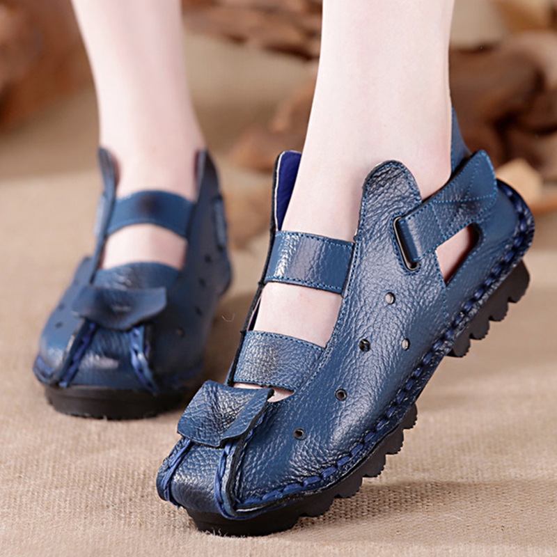 Summer Shoes Woman Sandals Genuine Leather Hollow out Sandals Women Comfortable Soft Casual Sandals sandalias mujer 2018