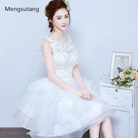 White Lace Flower Bridesmaid Dress 2016 New Sweet Princess Bride Banquet Ball Gown Short Ball Gown